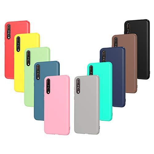 ivoler 10 x Funda para Huawei P20 Pro, Ultra Fina Carcasa Silicona TPU Protector Flexible Funda (Negro, Gris, Azul Oscuro, Azul Cielo, Azul, Verde, Rosa, Rojo, Amarillo, Marrón)