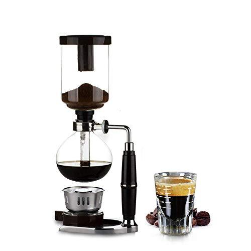 YYM -Cup Siphon Kaffeemaschine, Glas Vakuum Kaffee Filtertopf Perkolatoren mit Alkoholbrenner und Stofffilter, geeignet für die Zubereitung von Eiskaffee