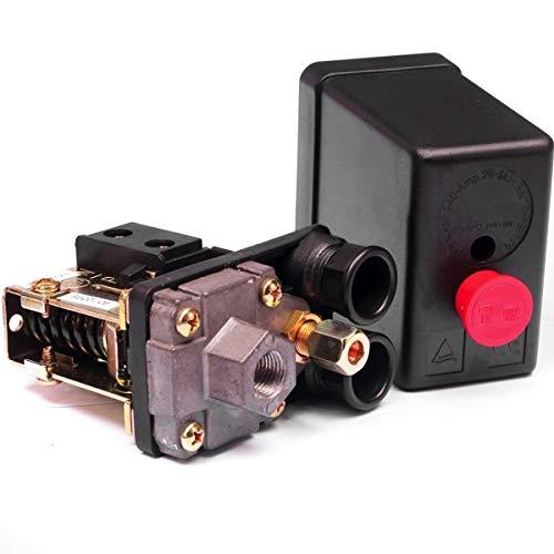 Nicoone Compresor de aire 230 V, interruptor de presión, válvula de aire, colector, compresor de aire, regulador de presión, color negro
