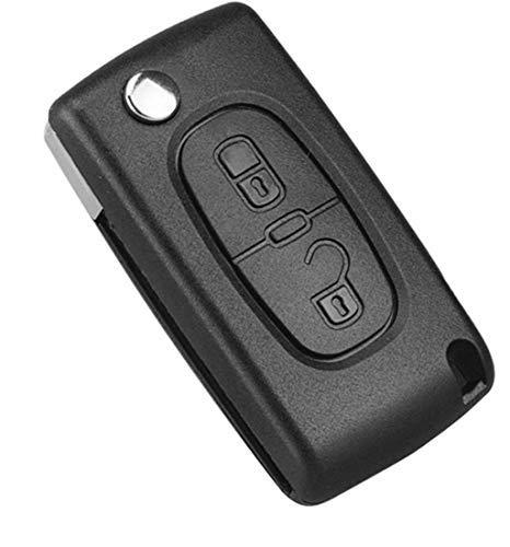 Kelay Schlüsselgehäuse für Citroen C2 C3 C4 C5 C6 C8 Peugeot 107 207 307 307S 308 407 607,2 Tasten CE0536 HU83