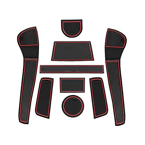 GAFAT VW UP/ Seat MII/ Skoda Citigo 2013-2021 Antirutschmatten, Auto Mittelkonsole Gummimatten, Getränkehalter Matte, Aufbewahrungsbox rutschfeste Matte, Türnaht rutschfeste Matten 9 Stück (Rot)