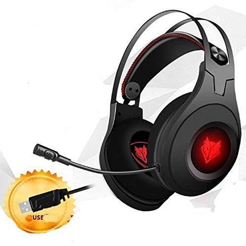 Whengx Gaming Headset, N2 Stereo Headset Faltbares PC-Gaming-Headset mit Noise Cancelling-Mikrofon, Über-Ohr-Kopfhörer für PC-Spiel, Musik,Blackusb