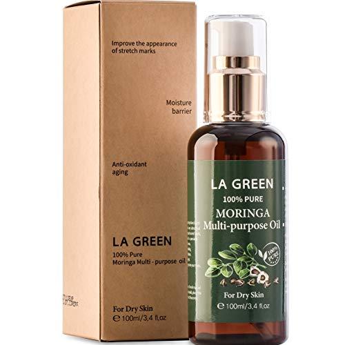 USDA Organic Moringa Oil Pure Multi purpose Skin Oil - for Face, Body, Hair - Food Grade, Oral Consumption - USDA Certified, Non GMO, Cold Pressed, Unrefined. bottle with Pump. Face Oil(3.4 fl oz) LA GREEN