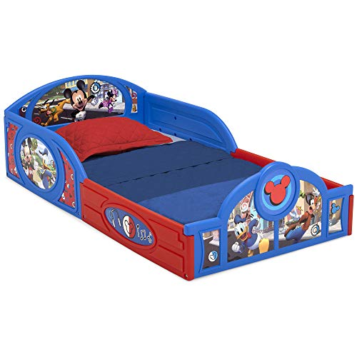 Disney Mickey Mouse Plastic Sleep and Play Toddler Bed with Attached Guardrails by Delta Children
