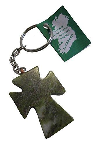 Biddy Murphy Connemara Marble Celtic Cross Keychain Irish Split Key Ring Made in Ireland