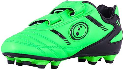 Optimum Velcro 6 Stud, Botas de fútbol para Niños, Verde (Fluro Green/Black), 28 EU