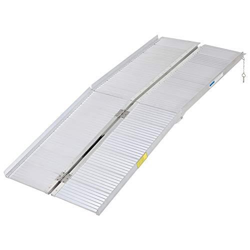 homcom Rampa per Sedia a Rotelle e Scooter per Disabili Pieghevole, Lega di Alluminio Antiscivolo capacità 270kg, 183x72x5cm