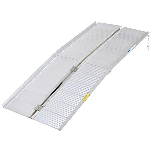 HOMCOM Portable Textured Aluminum Folding Wheelchair Threshold Ramp