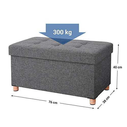 SONGMICS Sitztruhe Sitzhocker Fußhocker mit Stauraum und Deckel mit Holzfüßen, 76 x 38 x 40 cm dunkelgrau LSF16GYZ - 5