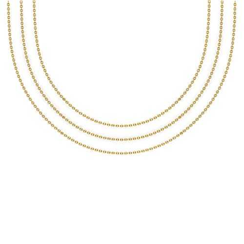 14K Yellow Gold Chain Necklace for women-men Solid Rope Chain Delicate 0.75 mm 20' inch