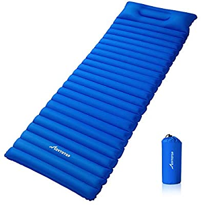 MOVTOTOP Camping Sleeping Pad, Extra Thickness Ultralight Camping Pad with Attached Pillow, Backpacking Inflating Camping Mat, Perfect for Hiking, Traveling and Backpacking (Self-Inflating)