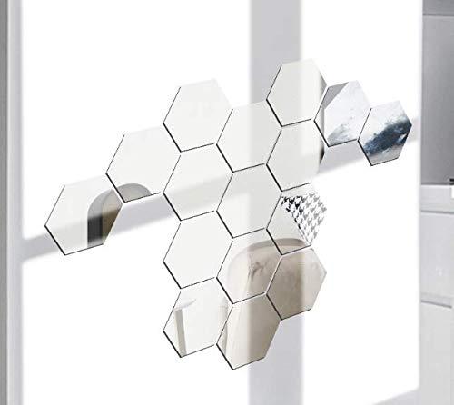 Hitopin 16 Piezas Espejo de Acrílico Desmontable Pegatina Pared Adhesivos Espejo de Acrílico Hexagonales, para Hogar Sala de Estar Dormitorio Decoración (Plata)
