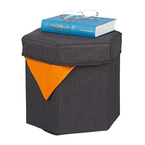 Relaxdays Sitzhocker mit Stauraum, faltbar, weich gepolstert, Wohnzimmer, Stoff, HBT 31x36x32 cm, Sitzwürfel, dunkelgrau