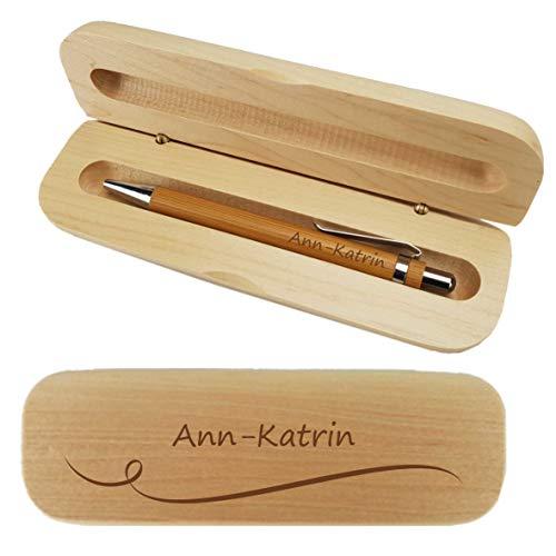 Holz-Kugelschreiber und Holzbox mit Name graviert - Personalisiertes Schreibset aus Bambus - mit individueller Wunsch-Gravur als Geschenk (Welle)