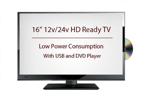 """16"""" 12v/24v LED HD Ready TV with Built in Freeview & DVD Player for Caravans, Trucks and Motorhomes"""