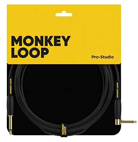 Monkey Loop - Pro Studio Silent Cable - Conectores Jack Mono y Jack Acodado - Longitud 3 m - Diámetro 7 mm - Color Negro - Cable Jack con Diseño de Bajo Ruido - Accesorios para Guitarra