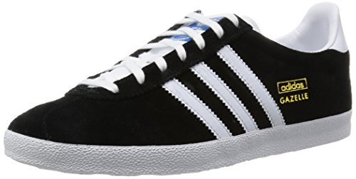 adidas Originals Herren Gazelle OG Low-Top, Schwarz (Black 1/White/Metallic Gold), 42 EU