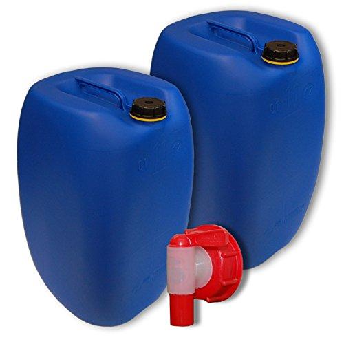 Wilai GmbH Bidons – Lot de 2 Jerricans 60 L, Bleu + 1 Robinet DIN 61 (22250x2+22010)