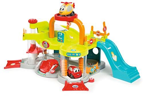 Smoby - Vroom Planet Premier Garage - 2 niveles + ascensor y helipuerto - 1 coche + 1 helicóptero incluidos - Juguete para niños a partir de 18 meses - 120402