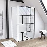 MARWELL Duschwand mit trendigem Siebdruck 120 x 195 cm - Glasdusche mit matt schwarzem Wandprofil - Einscheibensicherheitsglas für höchste Sicherheit - Montage auf Duschwanne oder Fliese