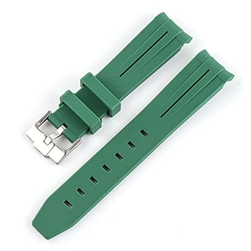 20 Mm Goma Reloj De Reloj De Silicona Reloj De Silicona Para Submarques Hombre De Buceo Con Aguja De Buceo Herramienta De Extremo Curvado *4* (Band Color : Green, Band Width : 20mm)