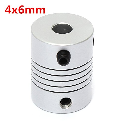 EsportsMJJ 4 mm x 6 mm aluminium flexibele askoppeling OD19 mm x L25 mm CNC Stepper Motor Coupler Connector