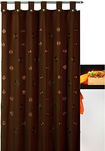 atenas home textile Cortina de baño Bordada con Trabillas Camelia 35% algodón 65% poliéster - 180x200 - Marrón