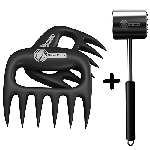 Meat Claws + Tenderizer Mallet Tool - DISHWASHER SAFE & - Manual Hammer Pounder For Tenderizing Chicken Steak Pork & Veal in Kitchen - Non Slip Silicone Handle for Pounding