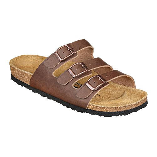 JOE N JOYCE Paris Gladiator Sandals Women, Size: W8/M6 US - Narrow, Brown, SynSoft, Roman Sandals with three straps for Girls and Ladies