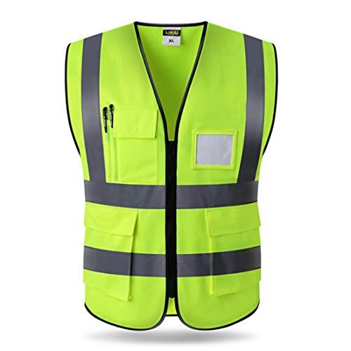 WAVENI Chaleco Reflectante Chaleco de Seguridad Cinturón Fluorescente Único de Alta Visibilidad Broma de Trabajo/Moto Guardia de tráfico/Noche Sensación eléctrica Chaleco Reflectante Reflectante U