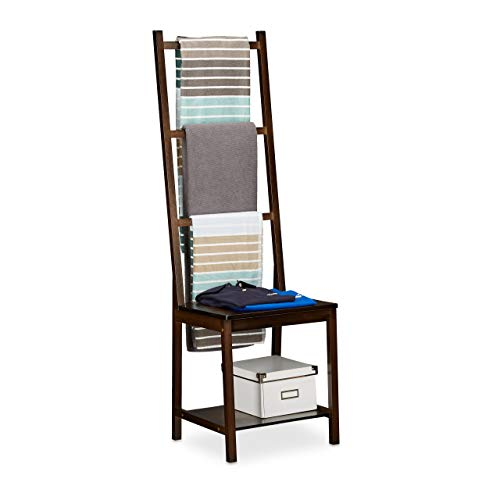 Relaxdays Handtuchhalter, Kleiderständer, Handtuchständer, Herrendiener, Bambus, HxBxT: ca 133 x 40 x 42 cm, Dunkelbraun