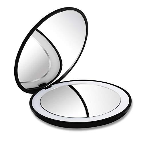 DeWEISN Compatto Specchio da Viaggio Specchio Tascabile per Trucco con Luce Ingranditore Normale e 10X, Specchietto Portatile con 12 LED Regalo per Donna e Ragazza
