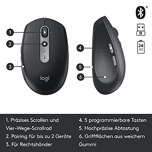 Logitech M590 Silent Kabellose Maus, Bluetooth und 2.4 GHz Verbindung via Unifying USB-Empfänger, 1000 DPI Optischer Sensor, 2-Jahre Akkulaufzeit, PC/Mac – Graphite/Schwarz - 7
