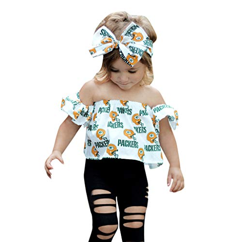 K-youth Ropa Niña Verano 0-4 años Conjunto de Ropa Bebe Recién Nacido Camiseta Sin Tirantes con Estampado de Carta y Agujero Vaqueros Pantalones con Banda de Pelo (Blanco, 6-12 Meses)
