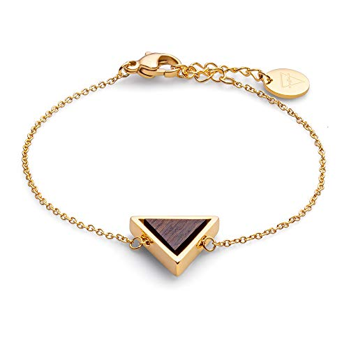 KERBHOLZ Holzschmuck – Geometrics Collection Triangle Bracelet, filigranes Frauen Armband in gold mit Dreieck Anhänger aus Naturholz, größenverstellbar (Armbandlänge 15 + 2,5 cm)