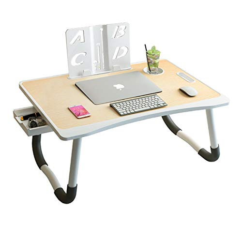 Laptop Desk, ASIYUN Lap Table with Removable Book Stand/Cup Slot/Storage Drawer, Portable Foldable Bed Tray Table for Eating Breakfast, Working, Reading, Watching Movie on Bed/Couch/Sofa