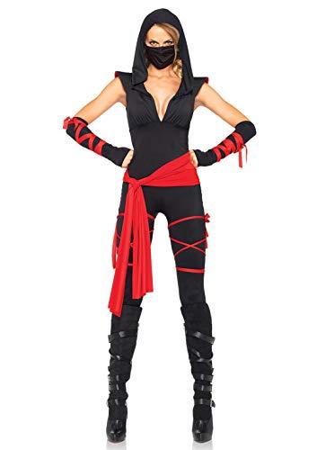 Leg Avenue Women's Deadly Ninja Costume, Black/Red, Small