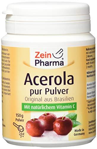ZeinPharma Acerola Pulver 150g (8 Wochen Vorrat) ultrahochdosierte Vitamin C Quelle Hergestellt in Deutschland, 150 g