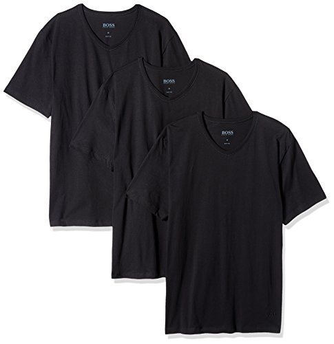 BOSS HUGO BOSS Men's Cotton 3 Pack V-Neck T-Shirt, New Black, Medium