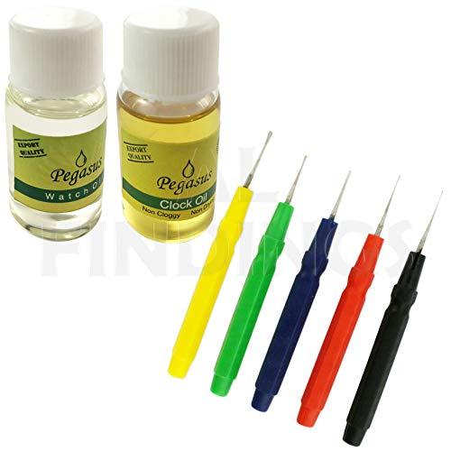 Jewellers Tools 10 ml Öl-Schmiermittel für Uhr und Uhr, 5 Ölstifte, Reparaturwerkzeug