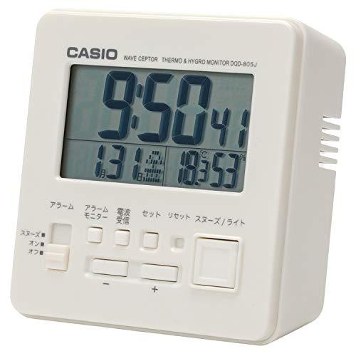 CASIO(カシオ) 目覚まし時計 電波 ホワイト デジタル 温度 湿度 カレンダー 表示 DQD-805J-7JF