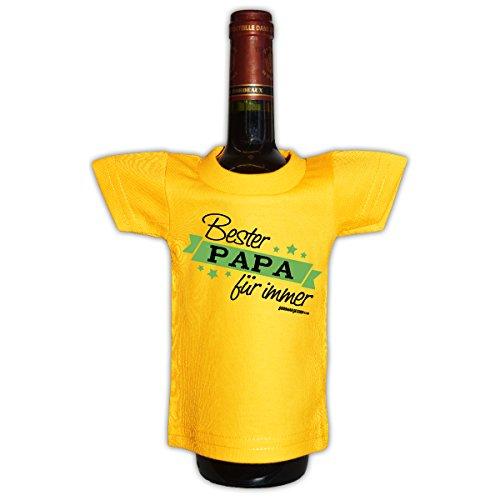Coole Deko und Geschenkverpackung für Flaschen / Weinflaschen : Bester Papa für immer -- Goodman Design -- Flaschenshirt