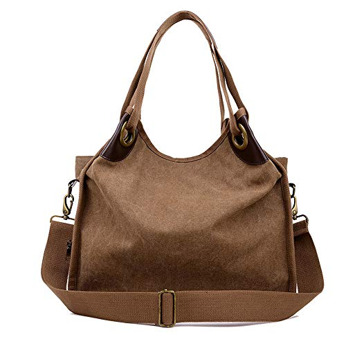 LIHAEI UmhäNgetaschen Damen Strandtasche Xxl Handtasche Gross Canvas Tasche UmhäNgetasche Leder Handtaschen Und Eine Kleine Taschencharme (Kaffee)