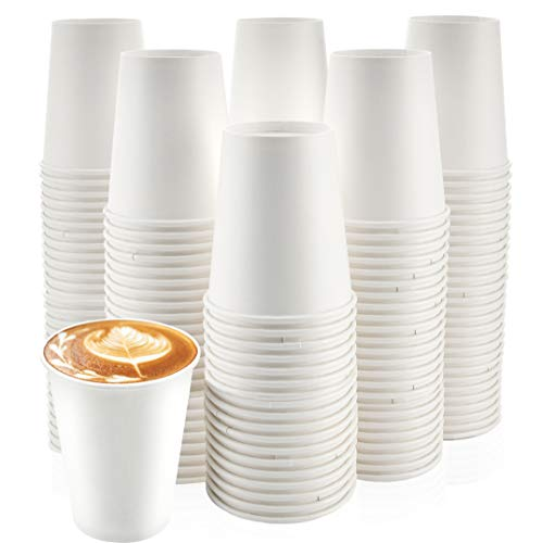 [200 Pack] 12 oz. Paper Cups - Disposable White Hot Cups for Coffee, Tea or Hot Chocolate. Great for Home and Office