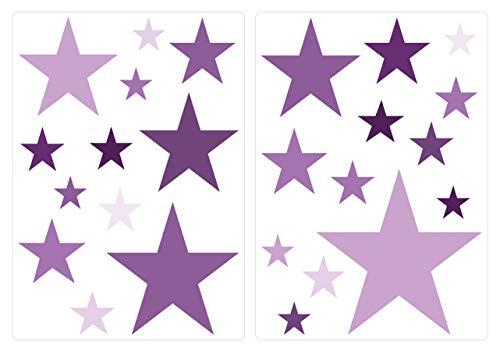 dekodino® Wandtattoo Sterne Violett Wandsticker Deko Set