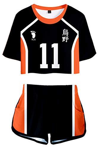Haikyuu Trikot Nr. 11 Tsukishima Kei Cosplay Kostüm Unisex T-Shirt Karasuno High School Club Uniform Sets Sportswear