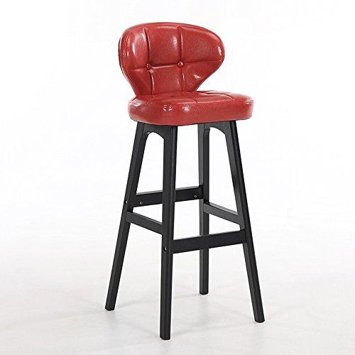 LightSeiEU/Tabouret haut simple moderne, chaise de barre arrière, tabouret de bar de caissier à la maison, tabouret haut de réception, chaises de barre en bois plein (Couleur : Rouge)