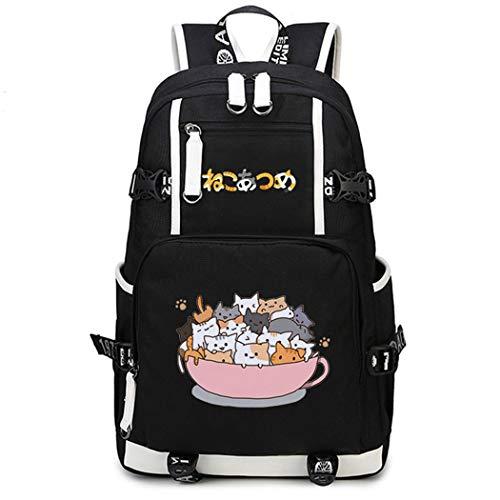 Cosstars Neko Atsume Gato Juego Mochila Escolar Estudiante Bolso de Escuela Backpack Mochila para Portátil Negro-9