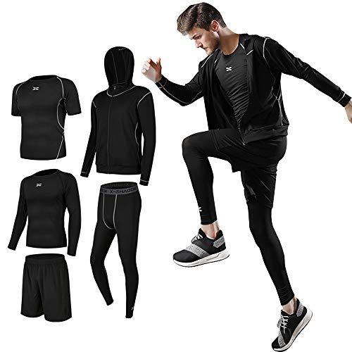 Superora Fitness Kleidung Set 5 stück männer Athletic Fitness Sport Anzug, Schwarz, Label XXL/EU L