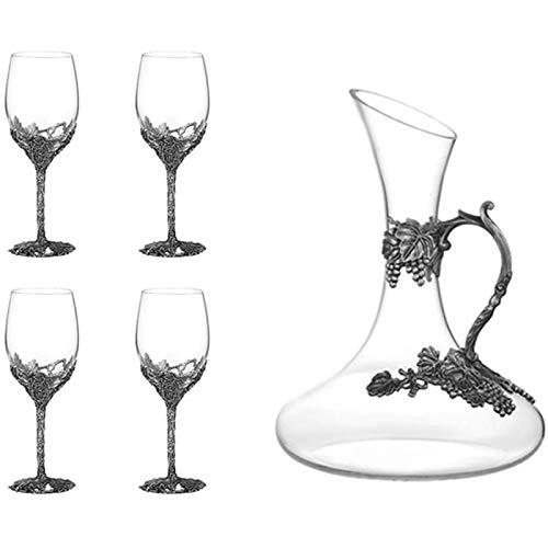 BB Vintage Decanter Di Vino Insieme, Calice Di Cristallo Smalto Dipinto, Con Un Regalo Vino Unico Può Essere Utilizzato For La Degustazione Di Vini, Matrimoni, Cene Di Famiglia, Feste, Materiale Crist